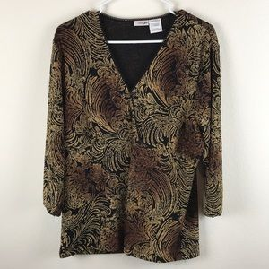 EAST 5th XL Black + gold long sleeve blouse